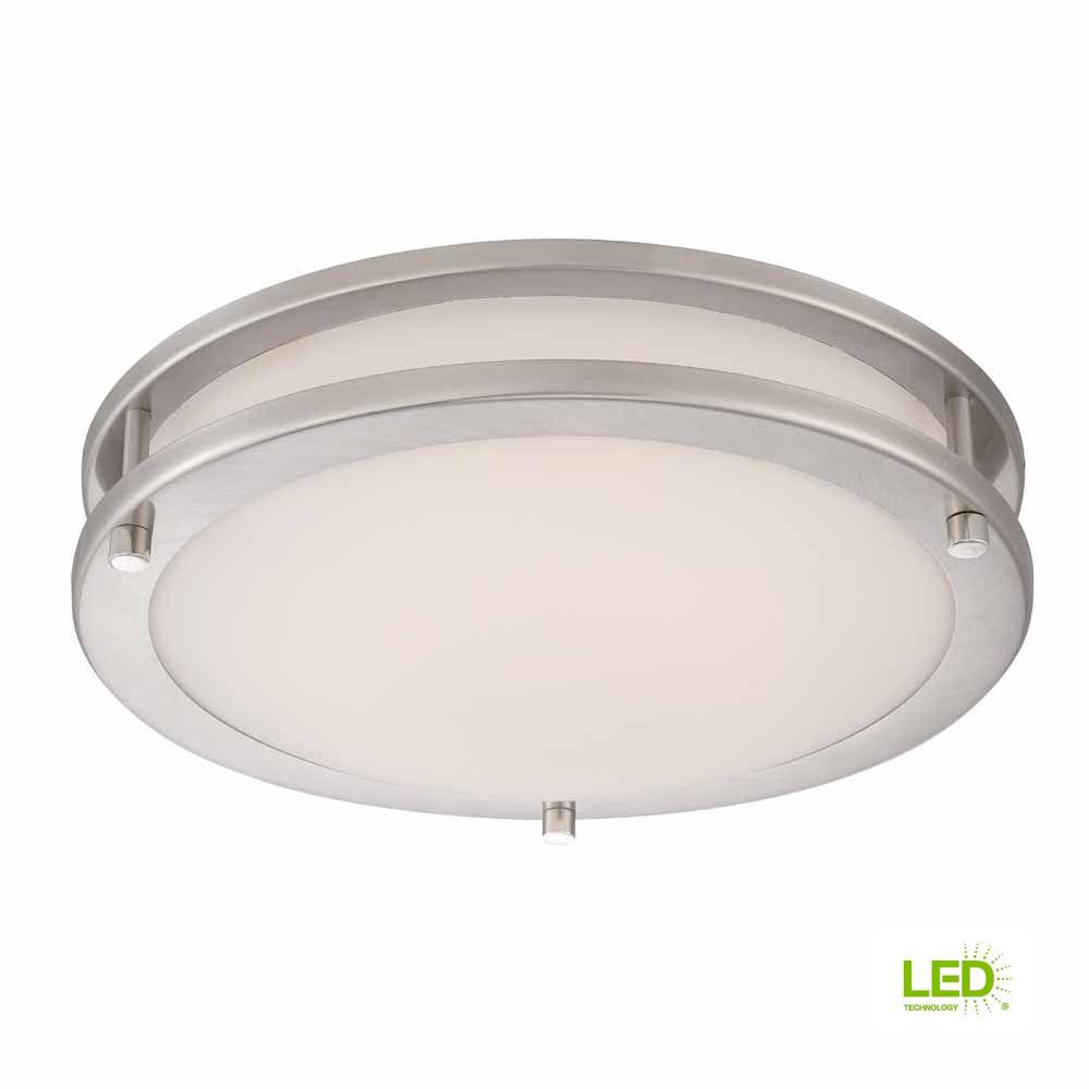 Hampton Bay 11.8 in. 120-Watt Equivalent Brushed Nickel Integrated LED Low-Profile Flushmount with Frosted White Glass Shade