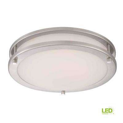 11.8 in. 120-Watt Equivalent Brushed Nickel Integrated LED Low-Profile Flushmount with Frosted White Glass Shade