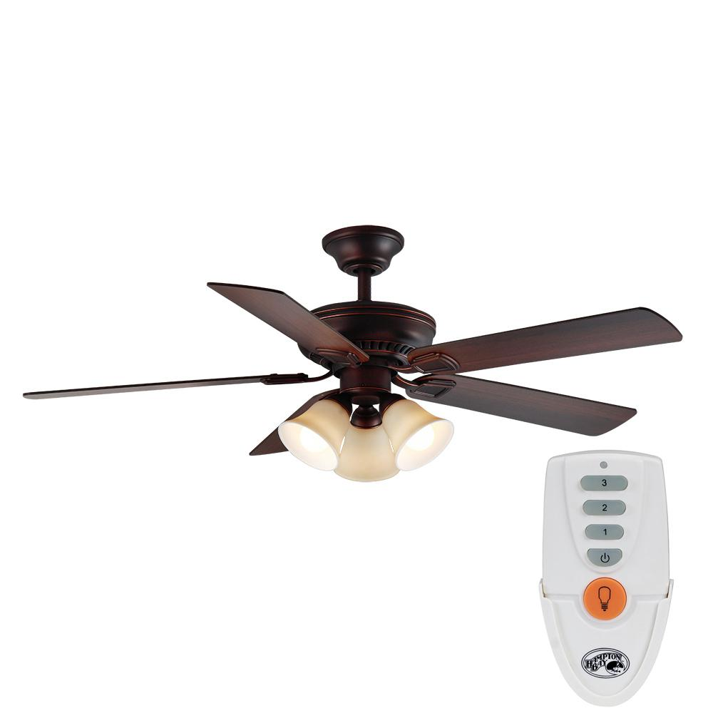 Campbell 52 in. LED Indoor Mediterranean Bronze Ceiling Fan with Light