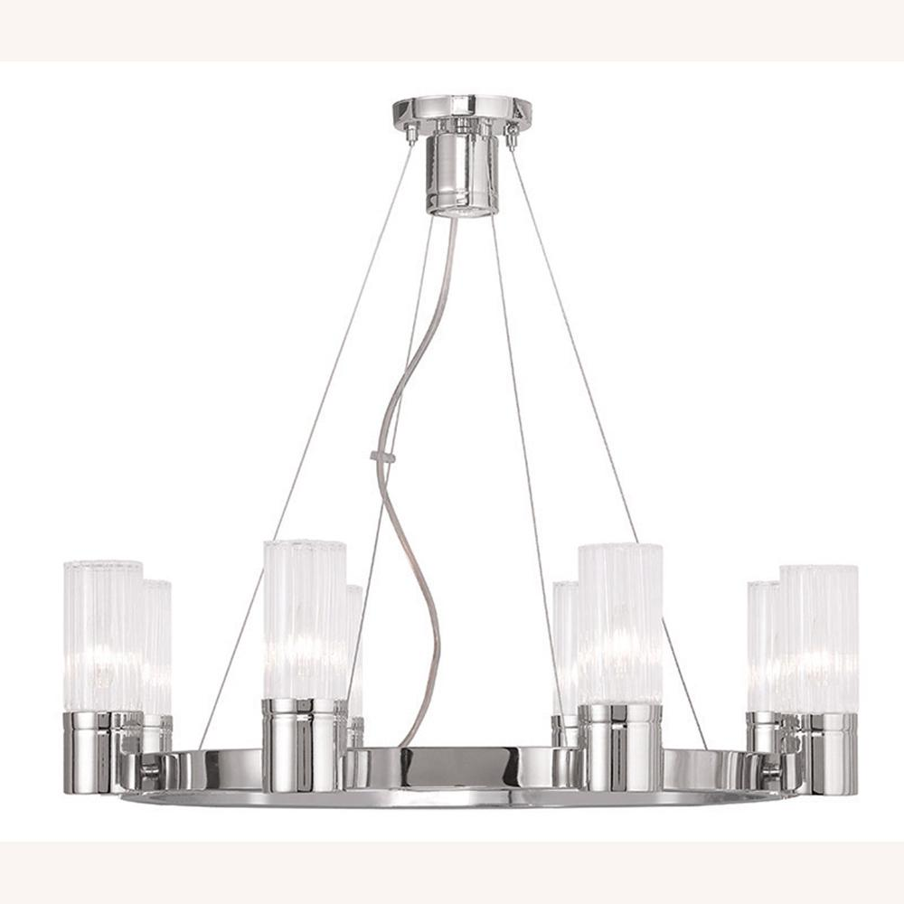 Livex Lighting Midtown 9-Light Polished Chrome Chandelier with Hand Crafted Clear Fluted Glass Shade