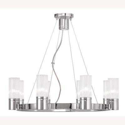 Midtown 9-Light Polished Chrome Chandelier with Hand Crafted Clear Fluted Glass Shade