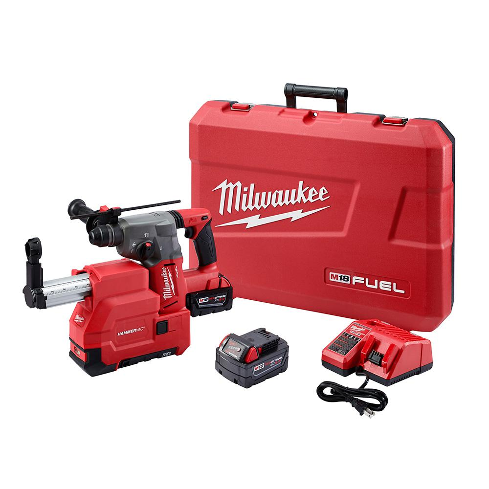 Milwaukee M18 FUEL 18-Volt Lithium-Ion Brushless Cordless 1 in. SDS-Plus Rotary Hammer W/ Dust Extractor Kit, (2) 5.0Ah Batteries