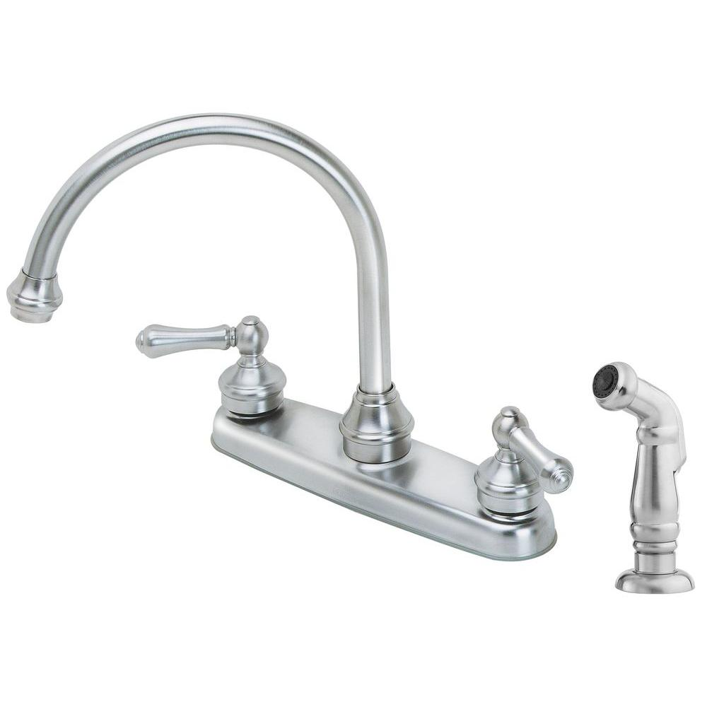 pfister savannah 2 handle standard kitchen faucet with side sprayer in stainless steel - Price Pfister Kitchen Faucet