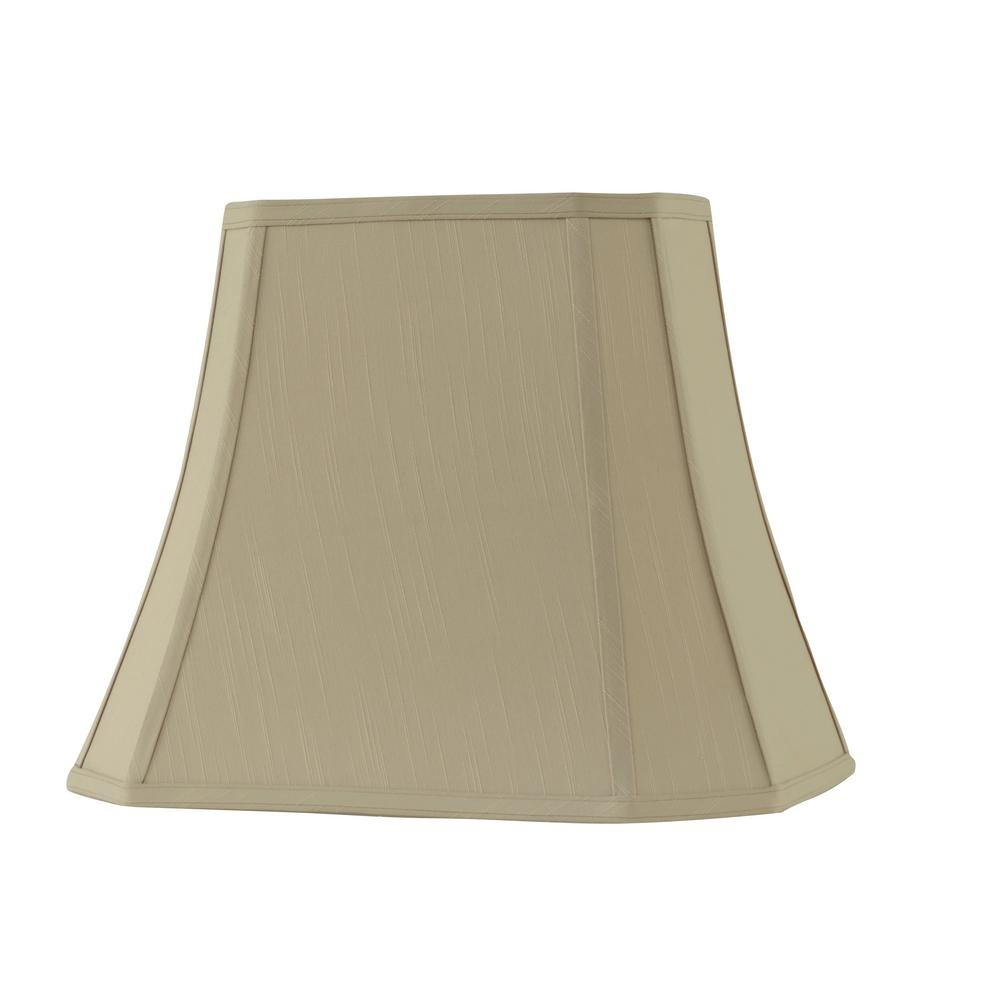 12 In X 16 In W X 14 In H Taupe Linen Rectangle Bell Lamp Shade 13 Sh711t The Home Depot