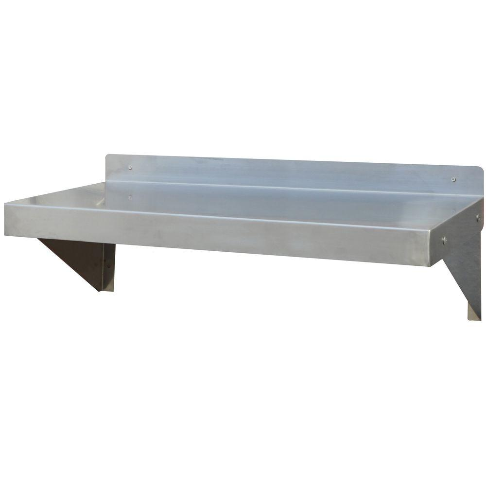 Amerihome 36 In Stainless Steel Wall Shelf Sswshelf36 The Home Depot