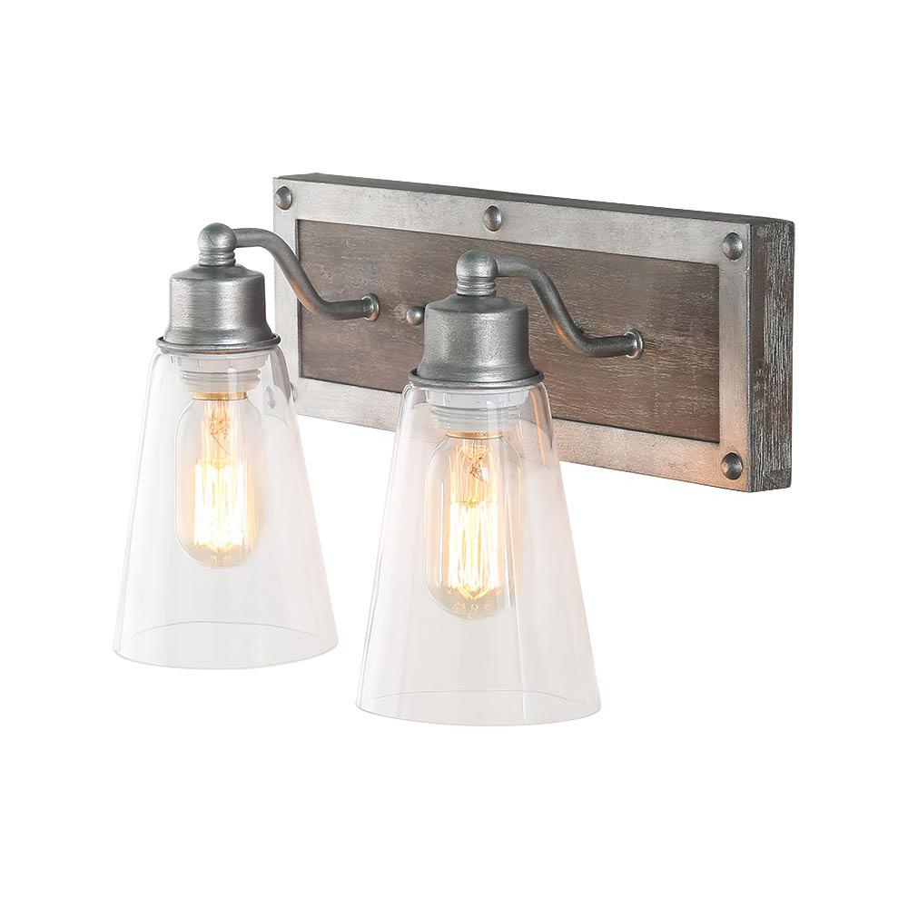 LNC 2-Light Aged Silver Wood Vanity Light with Clear Glass Shade