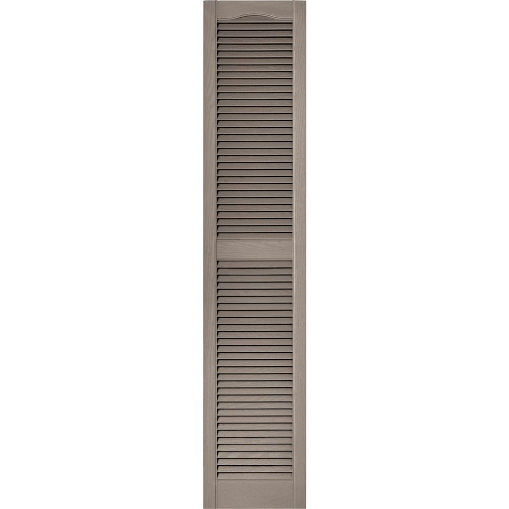 Builders Edge 15 in. x 72 in. Louvered Vinyl Exterior Shutters Pair in #008 Clay