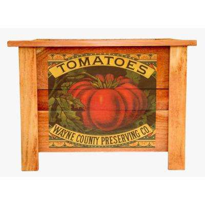 Hollis 22 in. Deluxe Redwood Planter Box with Vintage Tomato Art