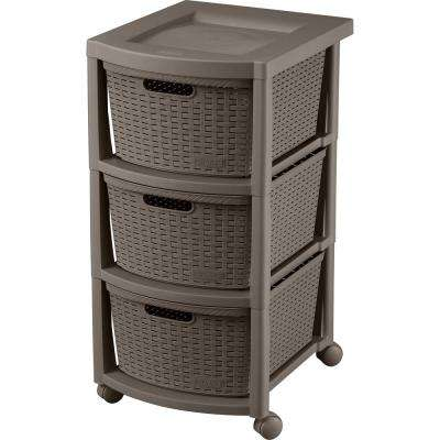 Rimax Resin 3-Drawer Rolling Cart in Mocca