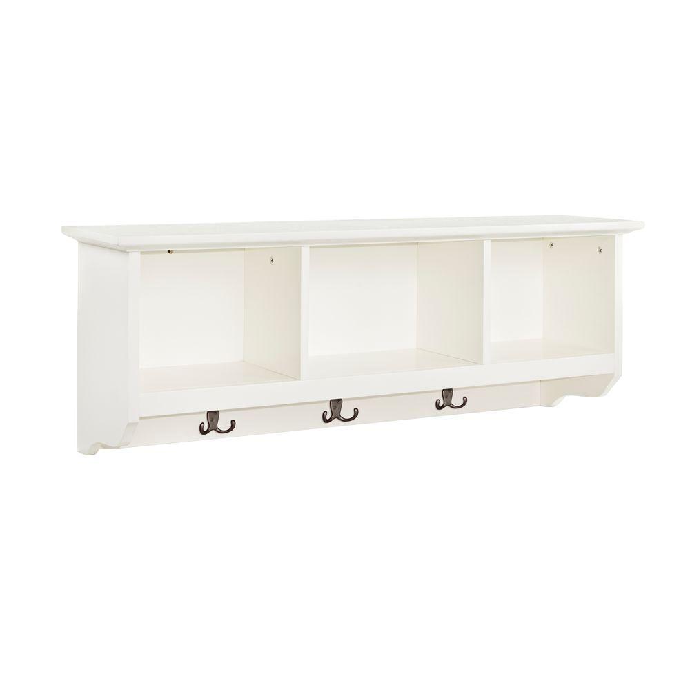 Crosley Brennan Entryway Storage Shelf In White