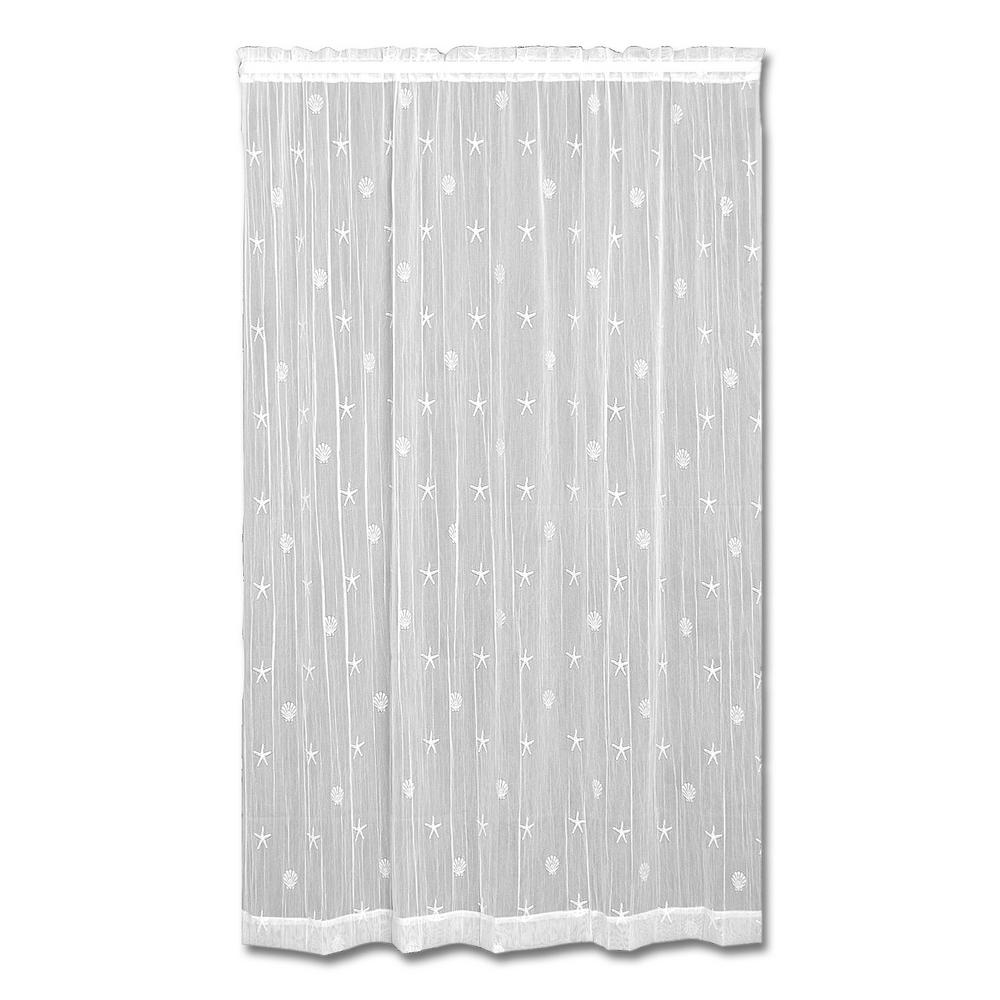 Heritage Lace 45 in. W x 63 in. L Polyester Sand Shell White Lace Curtain