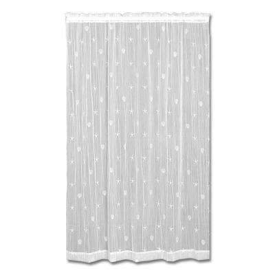 45 in. W x 63 in. L Polyester Sand Shell White Lace Curtain