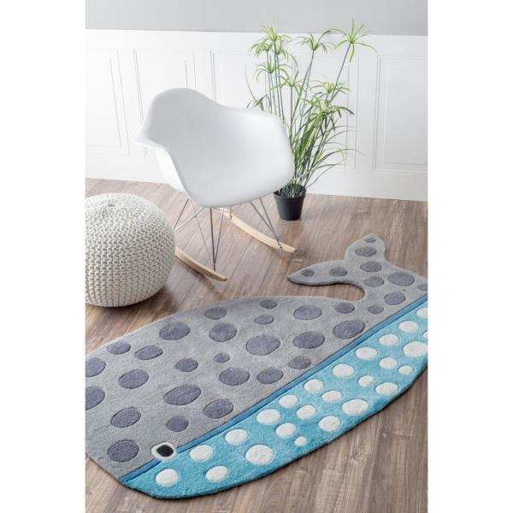 Nuloom Whale Nursery Playmat Gray 3 Ft