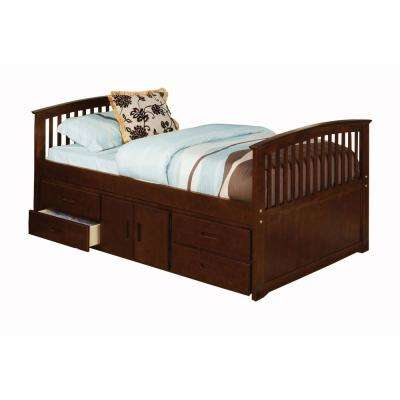 Dark Walnut Caballero Twin Bed with 4-Drawers and Storage