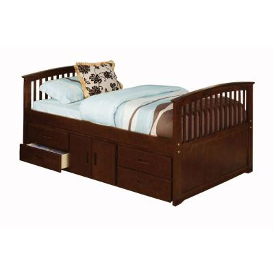 Caballero Dark Walnut Twin Bed with 4-Drawers and Storage