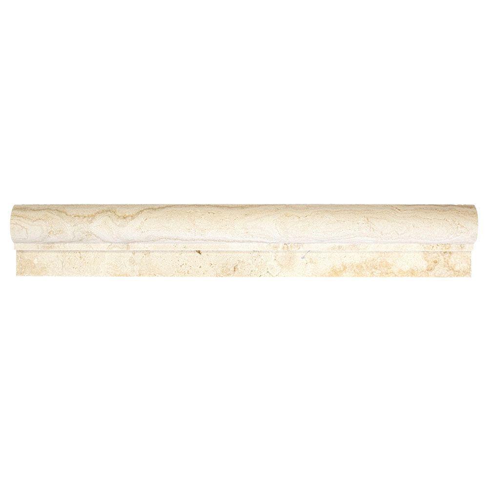 Jeffrey Court Light Travertine 2 in. x 12 in. x 25.4 mm Travertine Crown Wall Trim