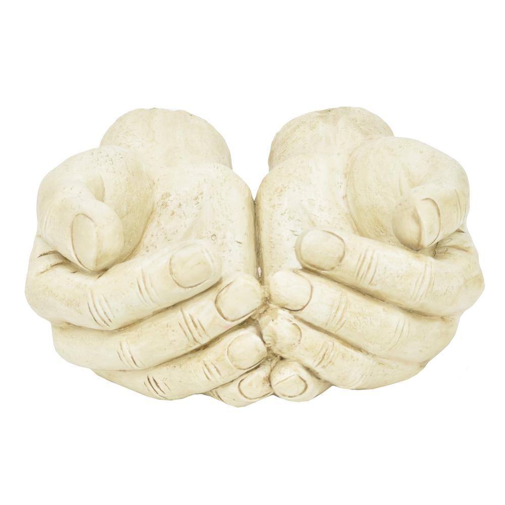 THREE HANDS Human Figurines Hands - Ivory Statuary, White Always there with helping hands, this THREE HANDS tabletop piece sits with hands cupped and ready to assist. Great as a gift or as a stand-alone decorative accent. Sure to create conversation. Color: White.