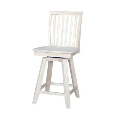 Mission 24 in. Unfinished Wood Swivel Bar Stool