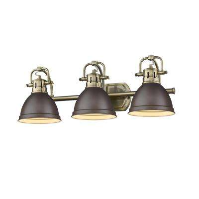 Duncan AB 3-Light Aged Brass Bath Light with Rubbed Bronze Shades