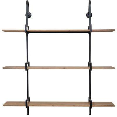 Gallery Solutions Three Tier 7.1 in. x 33.9 in. x 36 in. Brown and Black Decorative Shelf