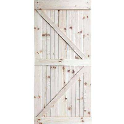 36 in. x 83.5 in. Unfinished K-Bar Solid Core Pine Interior Barn Door Slab Kit