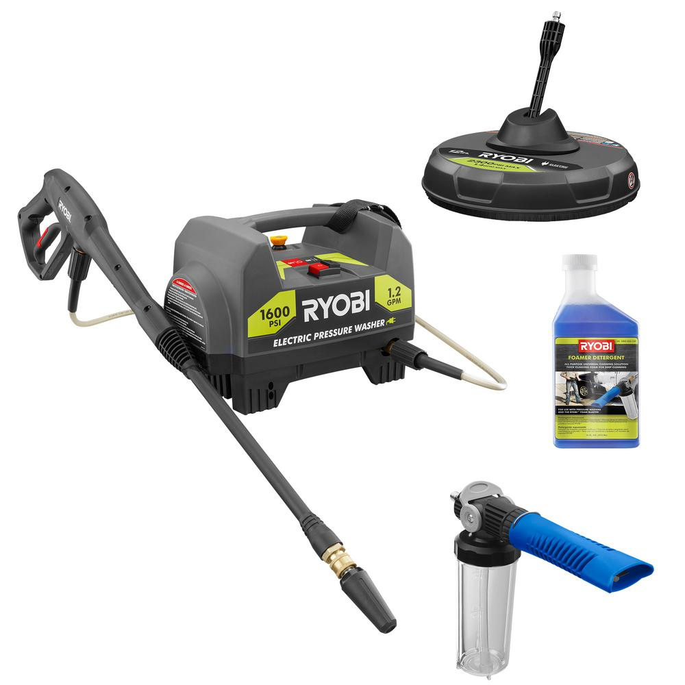 RYOBI 1,600 PSI 1.2 GPM Electric Pressure Washer with Surface Cleaner, Foam Blaster and Detergent