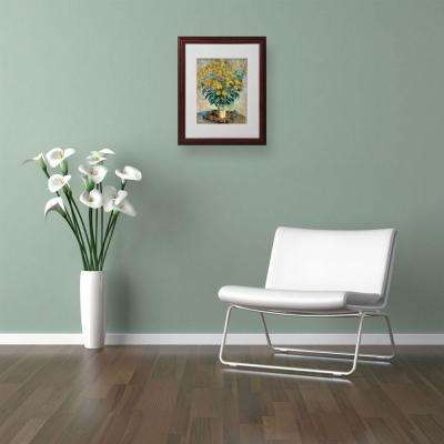 11 in. x 14 in. Jerusalem Artichoke Flowers Matted Brown Framed Wall Art