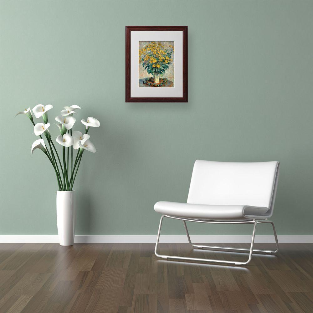 11 in. x 14 in. Jerusalem Artichoke Flowers Matted Brown Framed