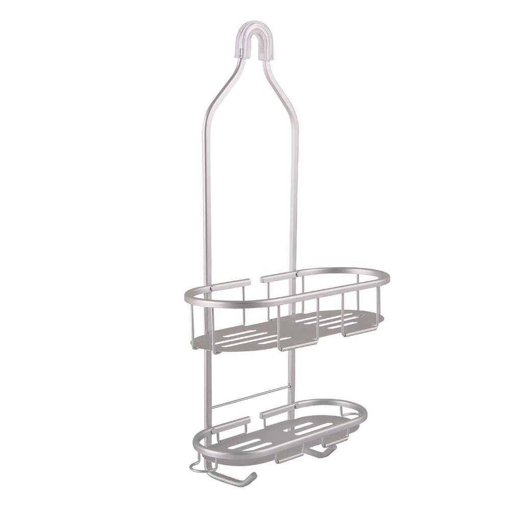 Flat Shelf Over-the-Showerhead Caddy in Rustproof Satin Chrome with 2 Shelves