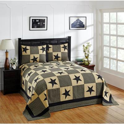 Star Collection  Black & Gold Queen 100% Cotton Patchwork Bedspread Set