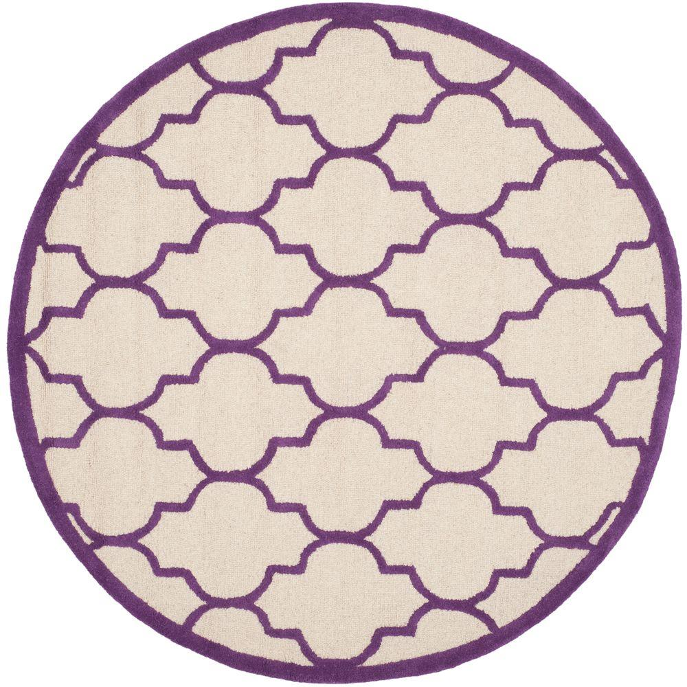 Oriental Rugs Grand Rapids: Safavieh Cambridge Ivory/Purple 6 Ft. X 6 Ft. Round Area