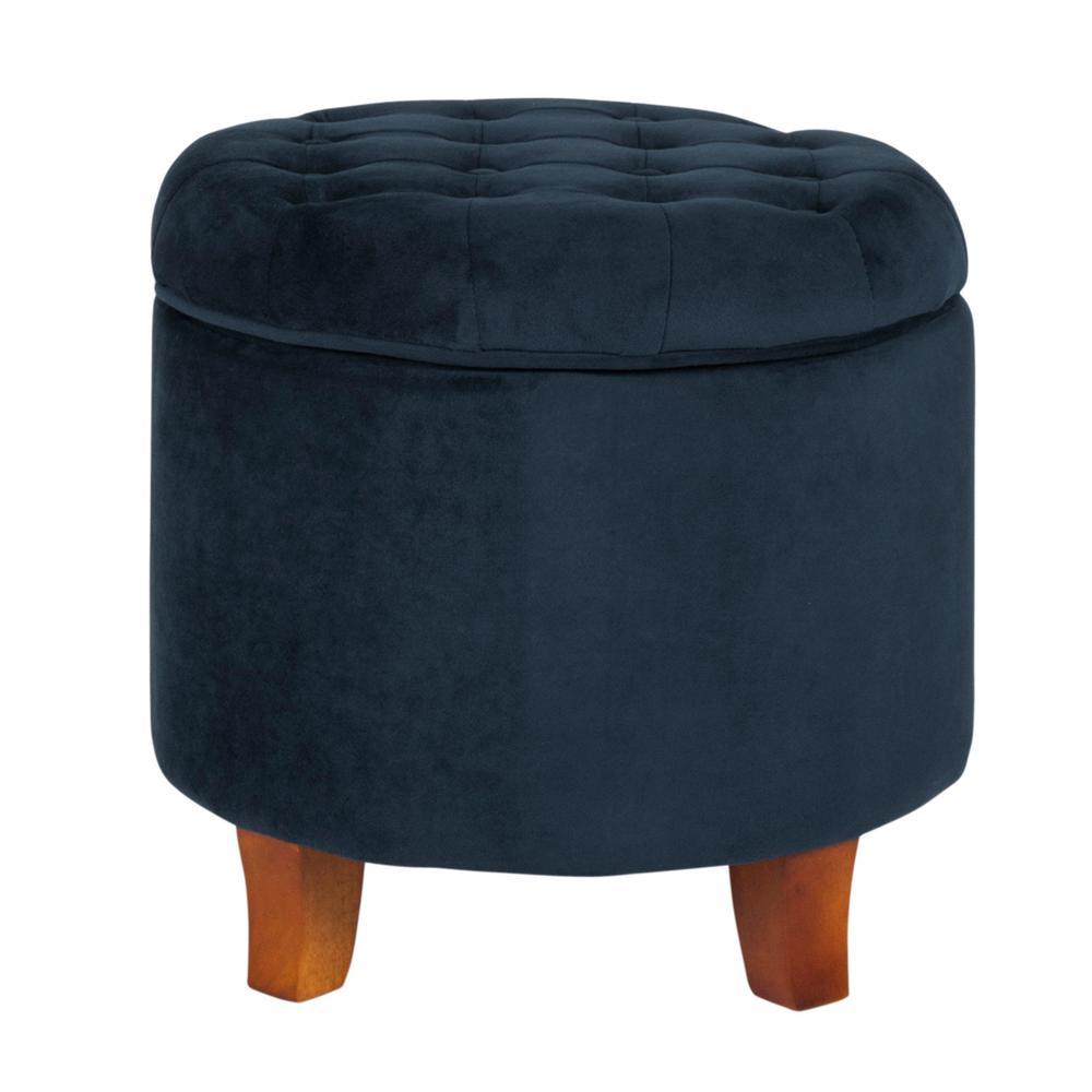 Dark Blue Velvet with Storage Tufted Round Ottoman 18 in. H x 19 in. W