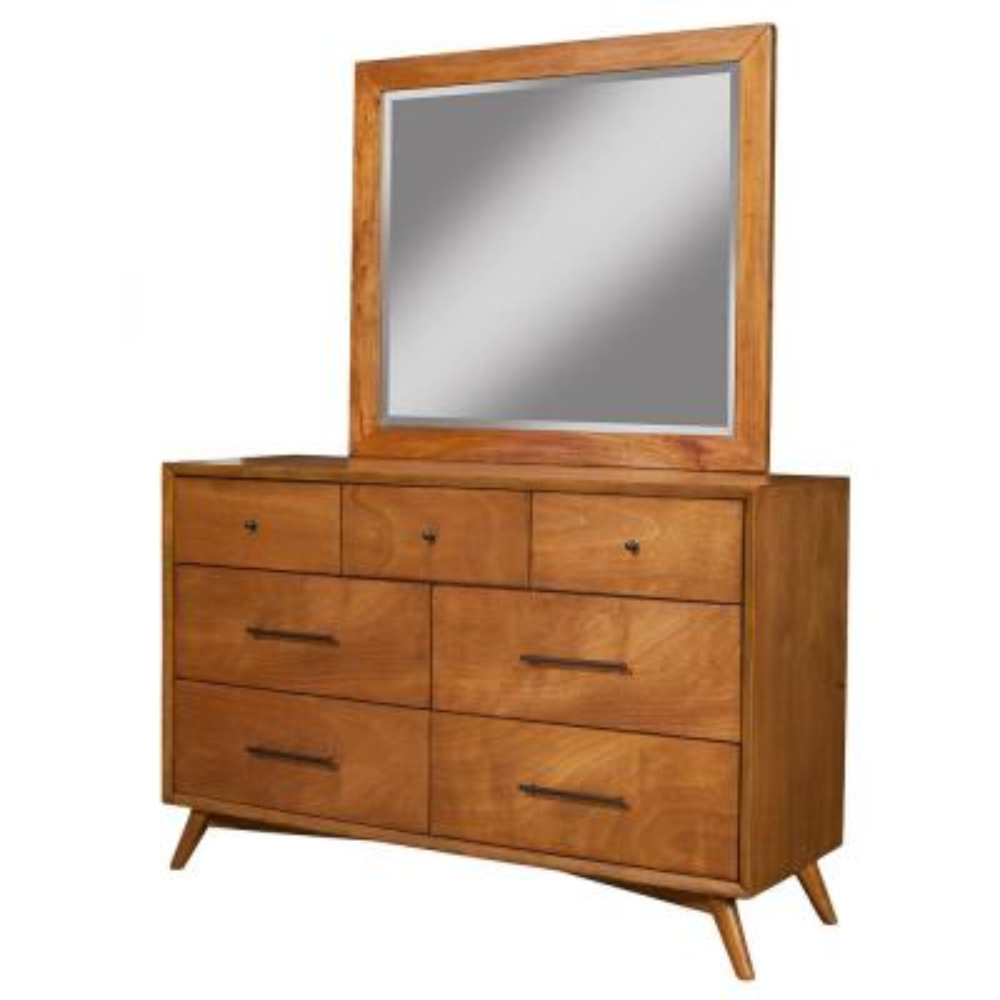 Flynn Mid Century Modern 7-Drawer Dresser, Acorn