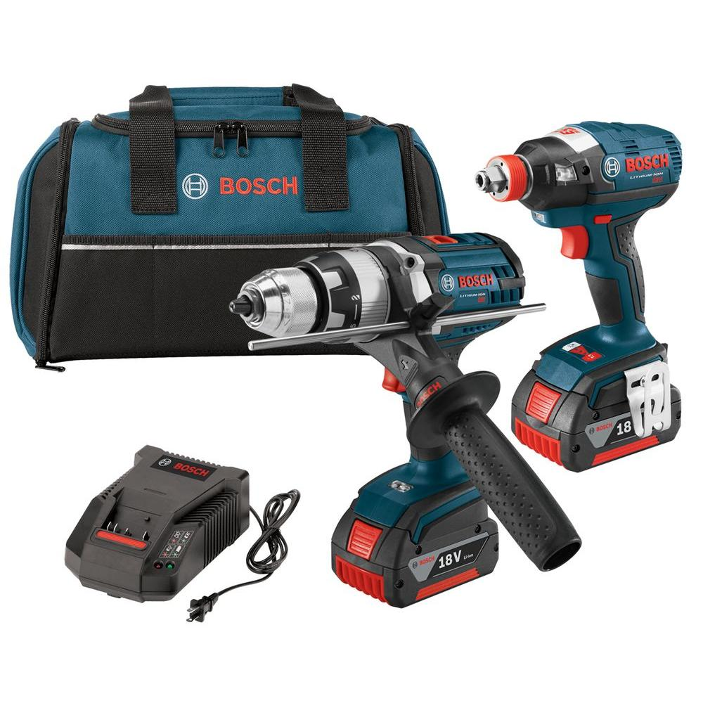 18-Volt Lithium-Ion Cordless Brute Tough Hammer Drill and Socket-Ready Impact