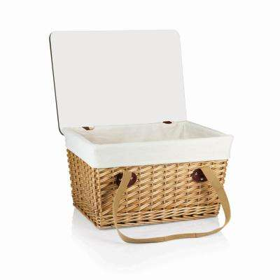 Canasta Grande Natural Wicker Wood Picnic Basket With Brown Lid