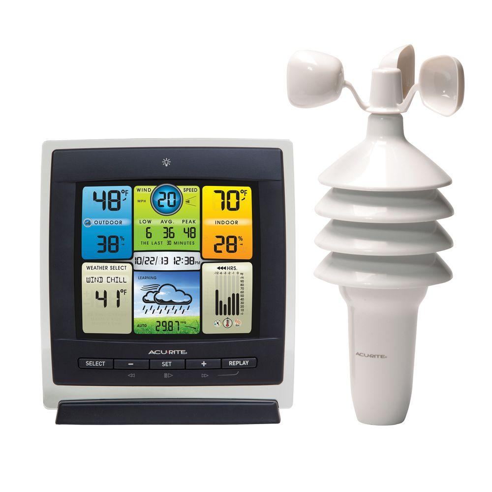 AcuRite Weather Center 3-in-1 Color Display - AcuRite Weather Center 3-in-1 Color Display-00589 - The Home Depot
