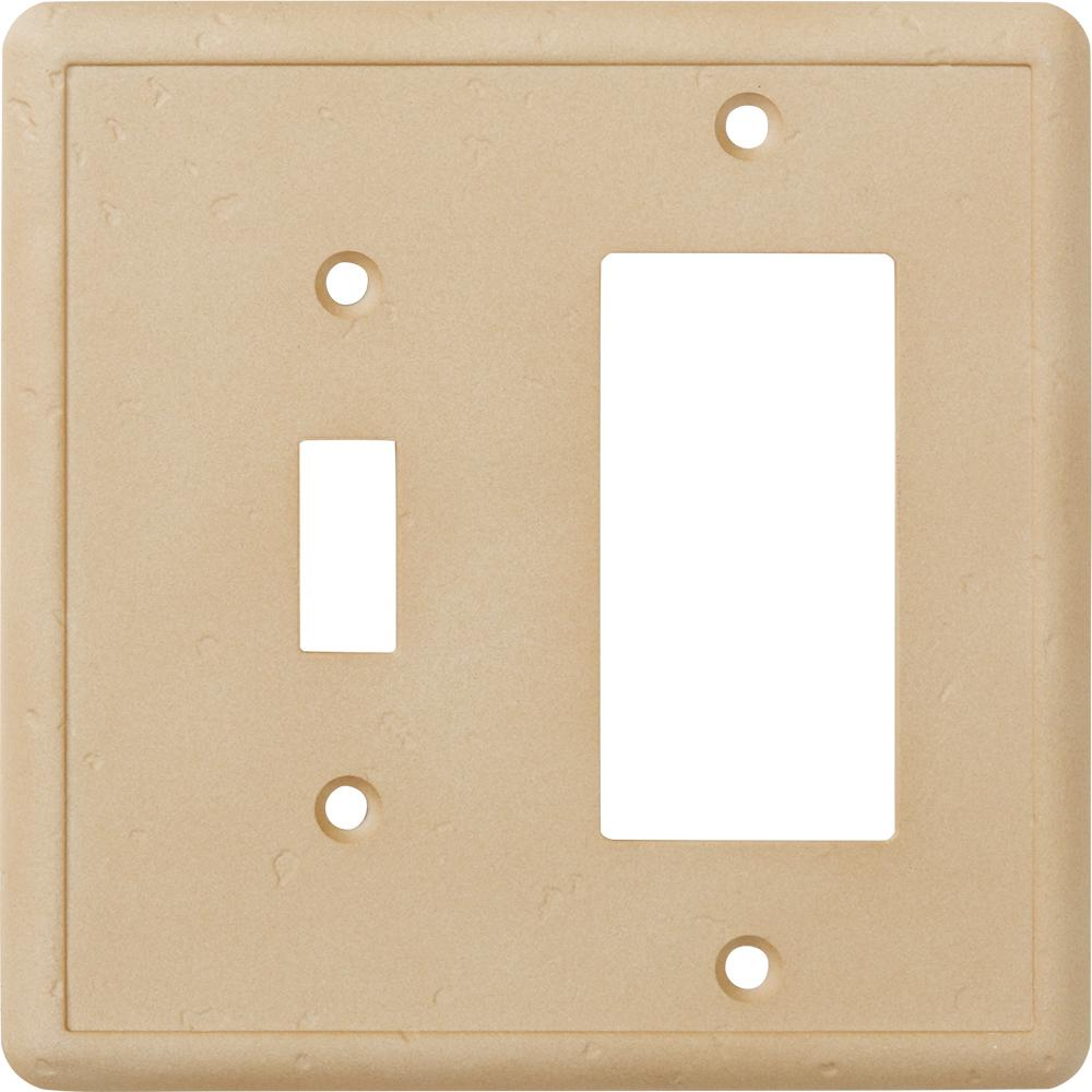 Hampton Bay 2-Gang 2 Combination Wall Plate, Travertine