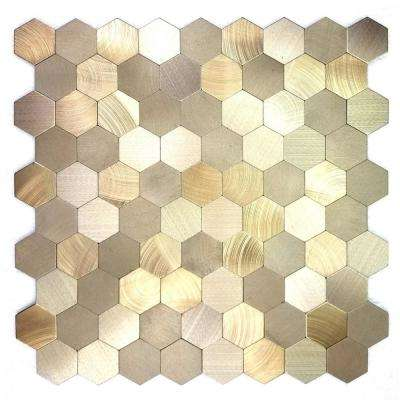 Enchanted Metals 12 in. x 12 in. Gold Aluminum Hexagon Peel and Stick Decorative Wall Tile