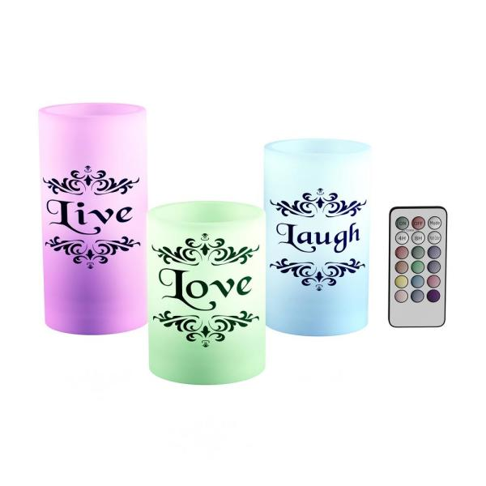 Live Laugh Love LED Flameless Candle Set (Set of 3)