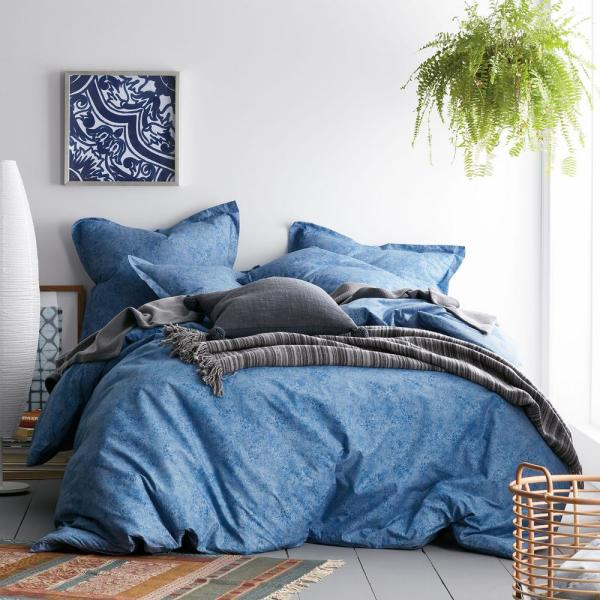 Cstudio Home by The Company Store Vintage Wash 3-Piece 200-Thread Count Organic Cotton Percale Queen Duvet Cover Set in Blue