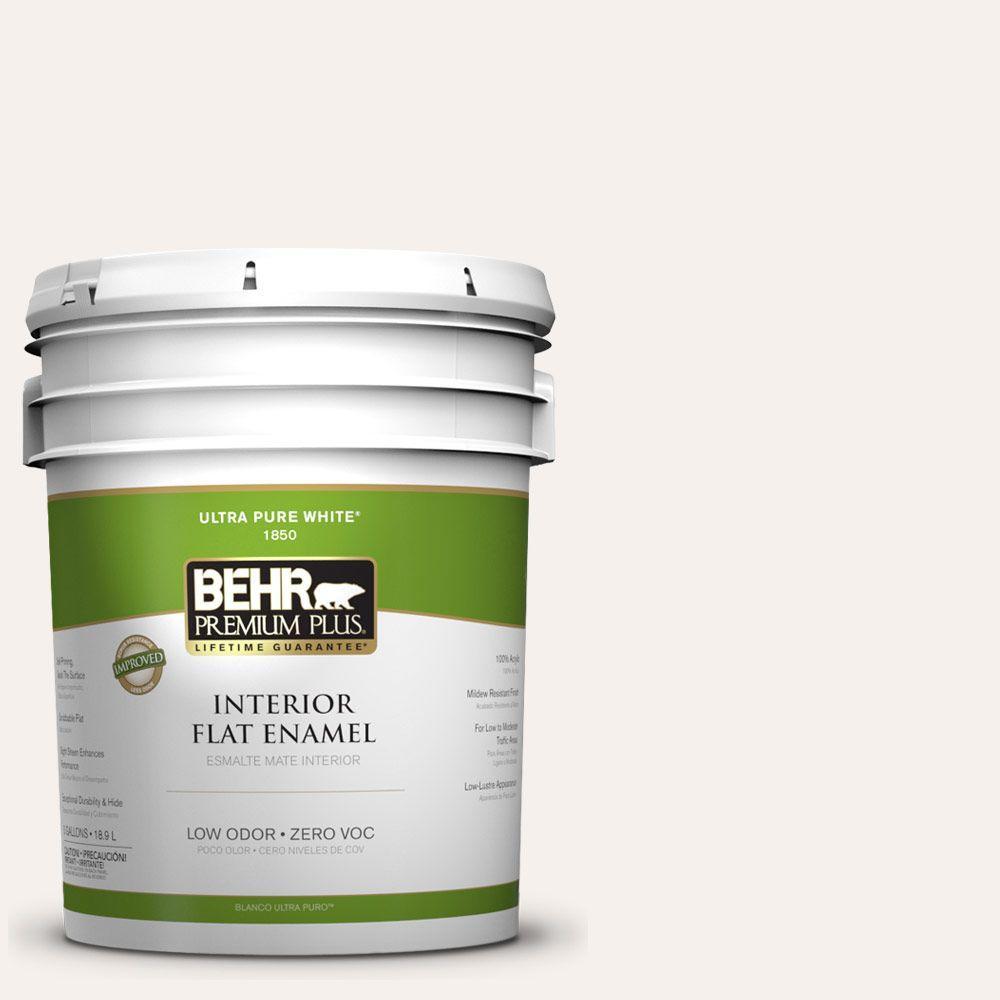 BEHR Premium Plus 5-gal. #PPL-33 Pink Dust Zero VOC Flat Enamel Interior Paint-DISCONTINUED
