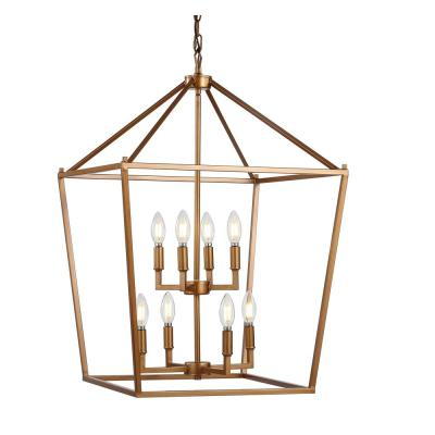 Pagoda 20 in. 8-Bulb Antique Gold Lantern Metal LED Pendant