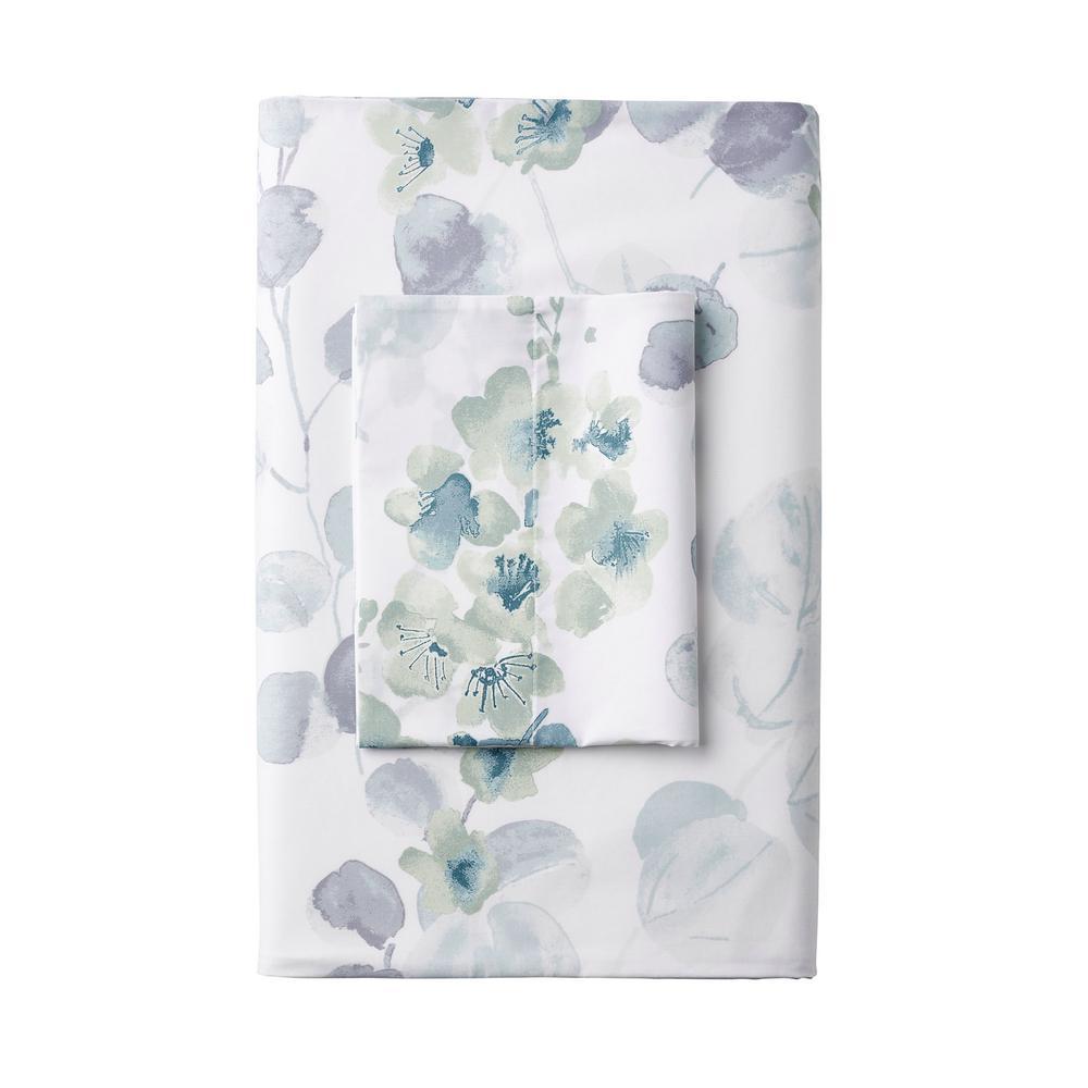 Plum Blossom Wrinkle-Free 300-Thread Count Sateen Flat Sheet