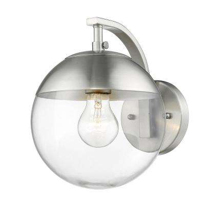 Dixon 1-Light Pewter with Clear Glass and Pewter Cap Sconce