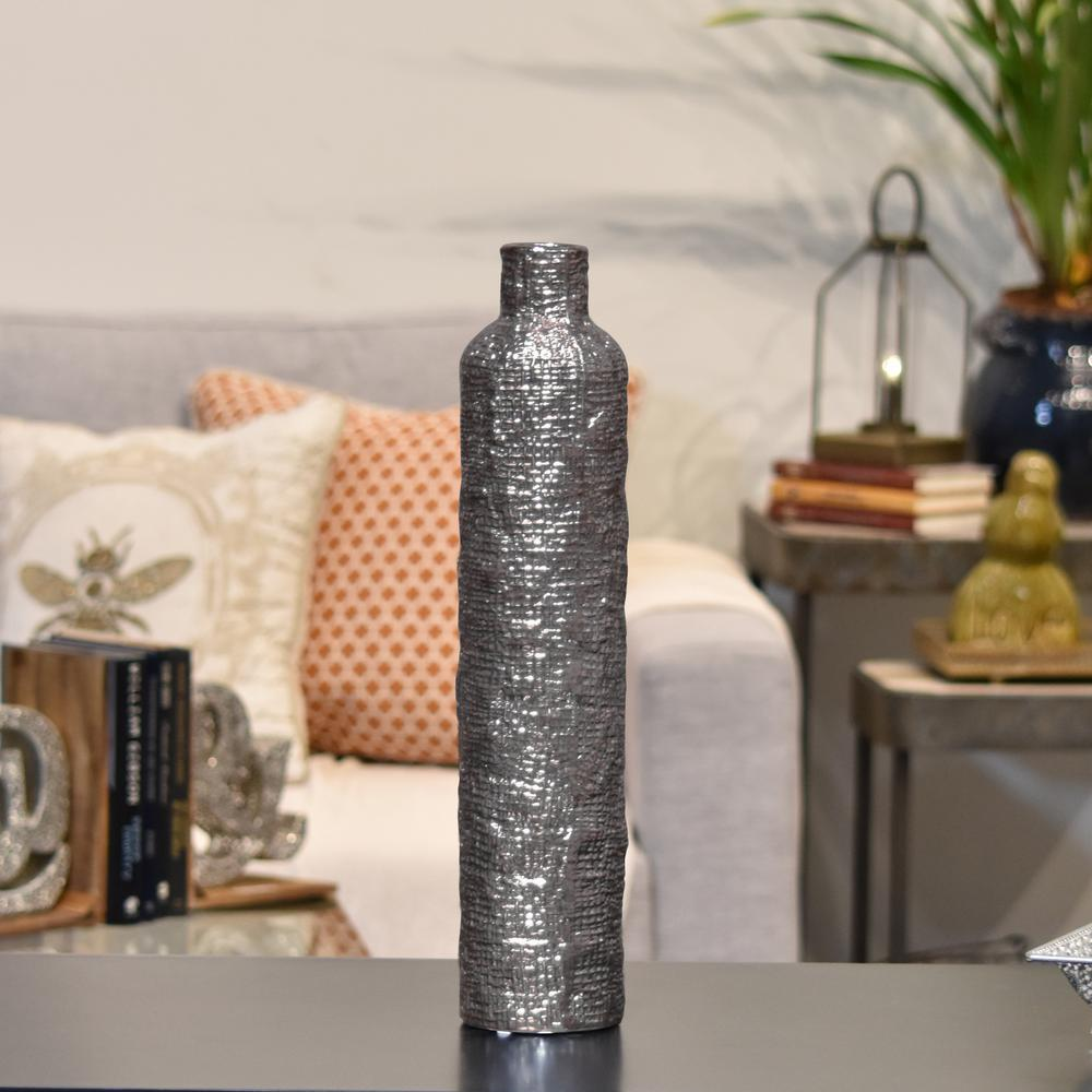 Silver Antique Electroplated Finish Ceramic Decorative Vase