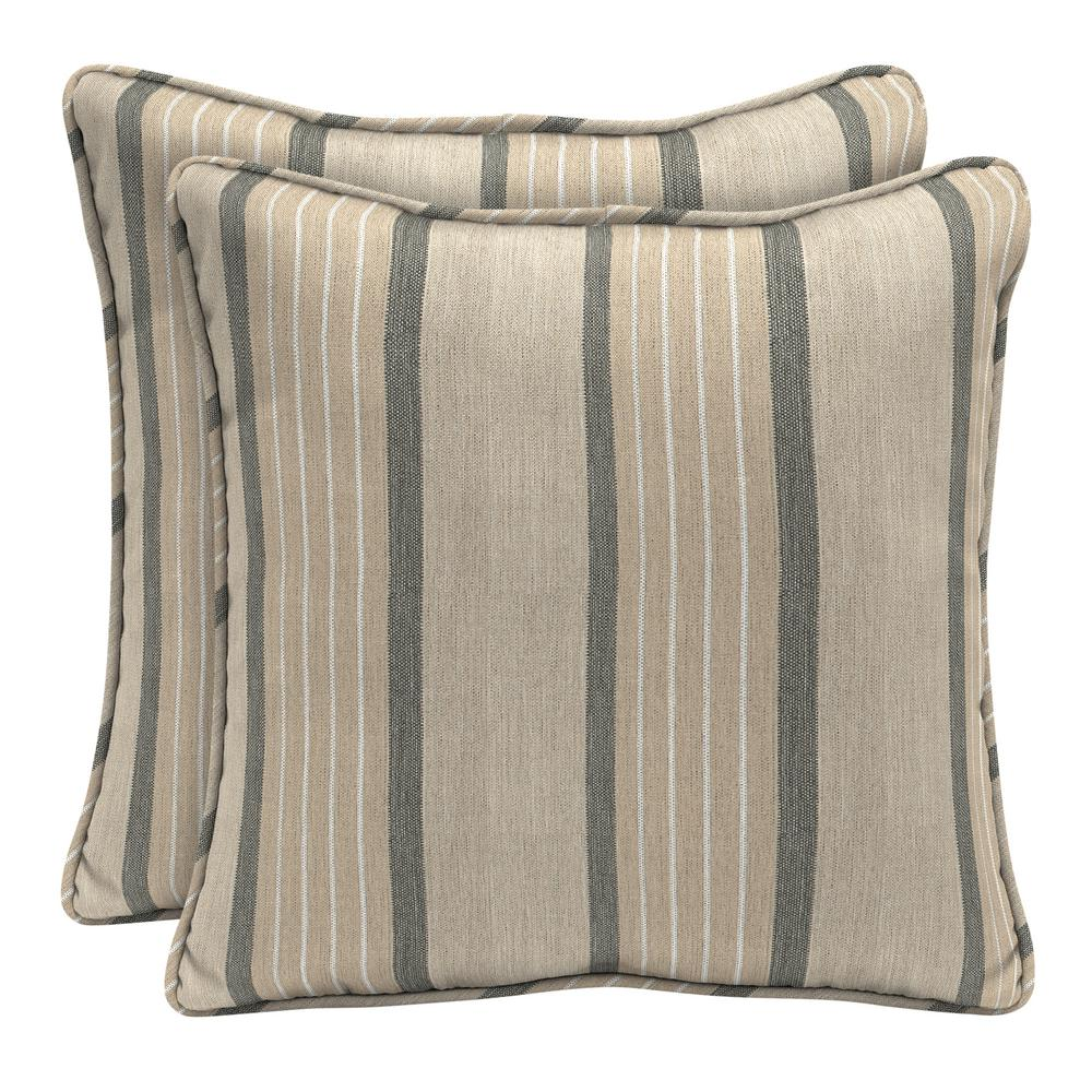 Home Decorators Collection Sunbrella Cove Pebble Square Outdoor Throw Pillow (2-Pack)