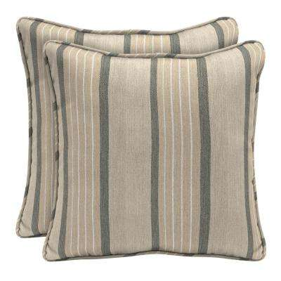 Sunbrella Cove Pebble Square Outdoor Throw Pillow (2-Pack)