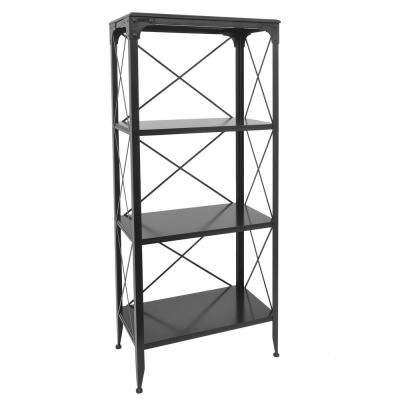 Black Metal/Wood Shelving Unit
