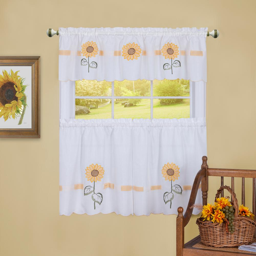 Sun Blossoms White Polyester Tier and Valance Curtain Set 56 in.