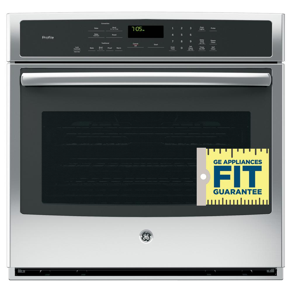 GE Profile 30 in. Single Electric Wall Oven Self-Cleaning with Steam ...